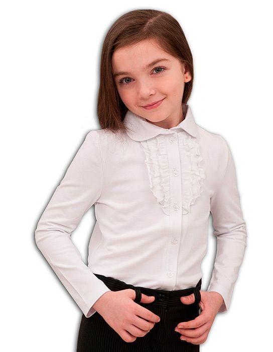 школьная нарядная блузка белая с жабо на 1 сентября для девочек
