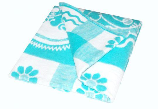 Детское байковое одеяло цвет бирюзовый