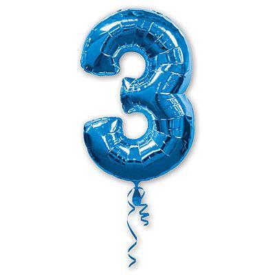 Шар-фигура Цифра 3 Синяя