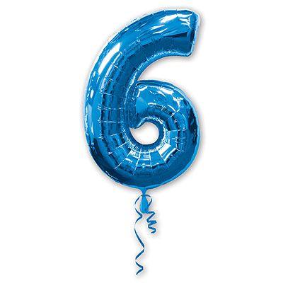 Шар-фигура Цифра 6 Синяя