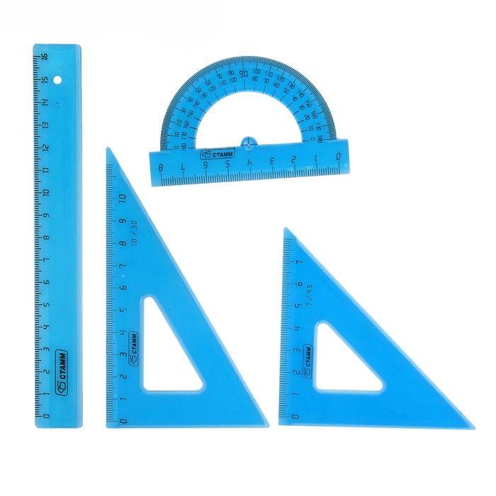 Набор голубых линеек для геометрии
