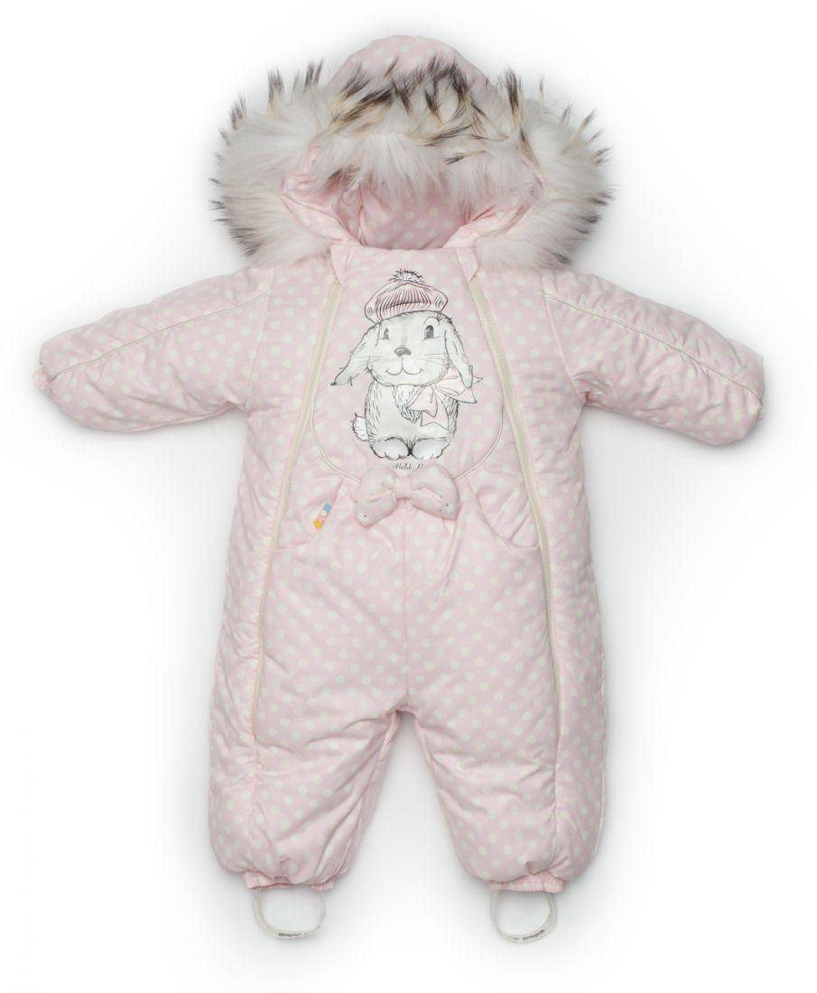 Комбинезон для новорожденной зимний Розовый заяц