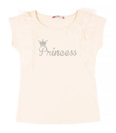 Нарядная футболка для девочки цвета экрю