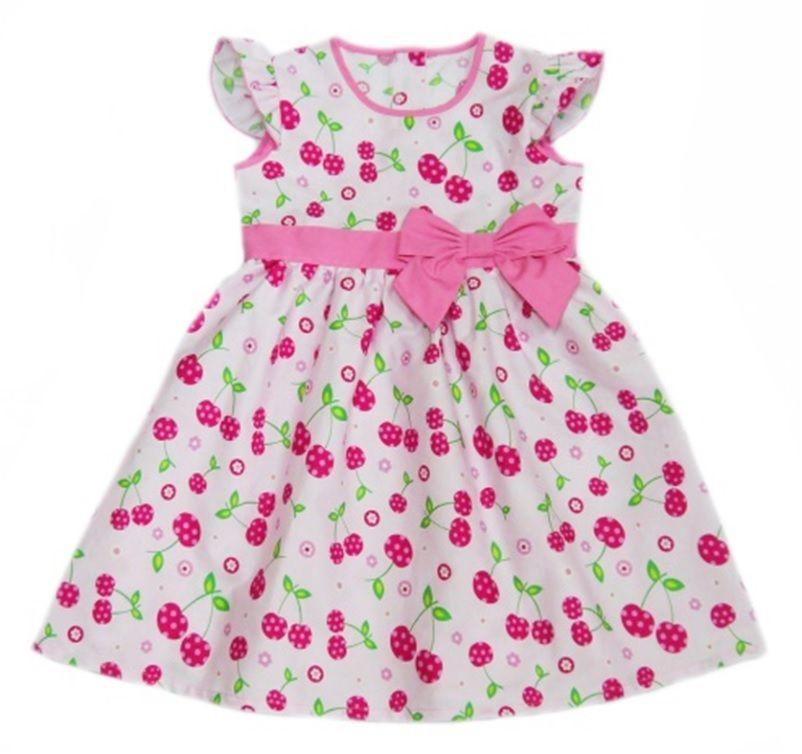 Платье розовое для девочки Вишенки