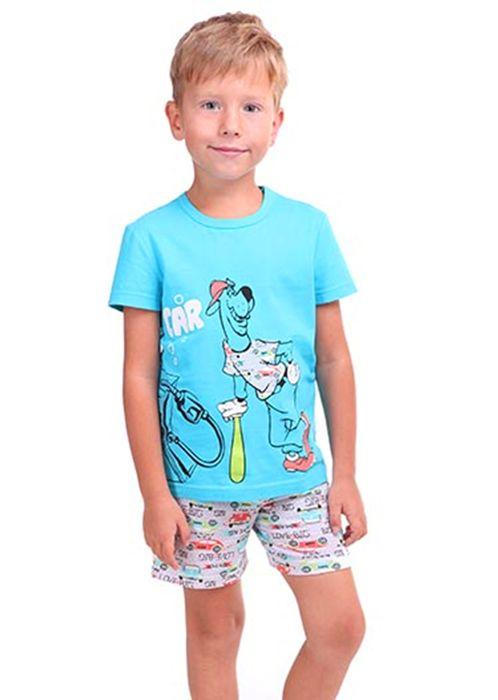 Пижама для мальчика Машина бирюзовая